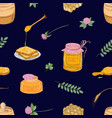 seamless pattern with honey dipper bread slices vector image vector image