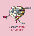 smiling mummy heart greating card flat cartoon vector image vector image