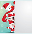 snowman and children behind blank paper vector image