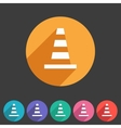 Traffic cone icon flat web sign symbol logo label vector image