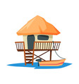 tropical beach bungalow on water summer vacation vector image vector image