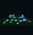 two soccer players in top form with the ball vector image vector image