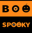 word boo spooky text with smiling sad black vector image