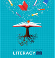 world literacy day book tree concept for education vector image vector image
