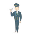 young caucasian pilot with the model of airplane vector image vector image