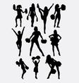 Girl cheerleader pose silhouette vector image