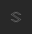 Letter S monogram logo black and white line vector image