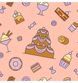 Desserts and Sweets Food Line Art Seamless Pattern vector image