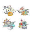 sketched sea colored elements piles set vector image