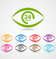 24 hours customer service icon in the form of eye vector image vector image