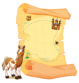 A treasure map beside the smiling horse vector image