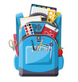 back to school school supplies in backpack vector image vector image