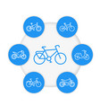 bikes line icons cycling bicycles motorcycle vector image