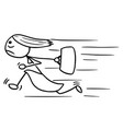 cartoon of woman running with hanbag in her hand vector image