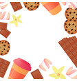 cup of coffee a bar of chocolate cookies vector image