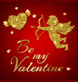 cupid on a red background vector image