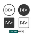 forward button icon set isolated on white eps 10 vector image vector image