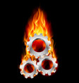 gearwheel in fire on black background for design vector image vector image
