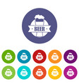 glass beer icons set color vector image vector image