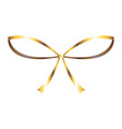 golden glossy bow ribbon decoration christmas icon vector image