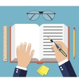 Hand Writing On Book Open vector image vector image