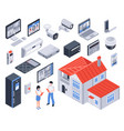 isometric smart home icon set vector image vector image