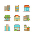 Minimal lineart building iconset skyscrapper shop