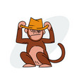 monkey wearing hat vector image vector image