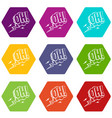 oh speech bubble icon set color hexahedron vector image vector image