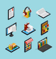 online books isometric set vector image vector image