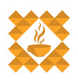 orange cup of hot coffee tea in a pattern on a vector image