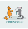 rat giving to a cat fish cartoon vector image