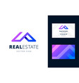 real estate logo and business card template vector image vector image