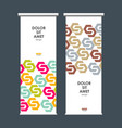 roll up banner stand with hexagon pattern vector image vector image
