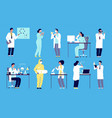 scientists characters people in white lab coat vector image vector image