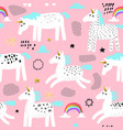 seamless pattern with magic unicorns and rainbow vector image