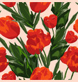 seamless watercolor colored pattern with tulips vector image vector image