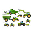 set agricultural machinery tractor vector image