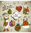 set hand-drawn christmas design elements vector image vector image