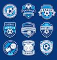 set nine football badges soccer emblems vector image