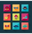 Set of hipster icons in flat design style vector image