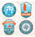 set summer sailing camp patches vector image vector image
