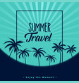 summer travel poster design with palm trees vector image vector image