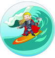 superhero viking with hammer sliding on sea wave vector image