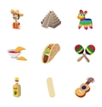 Tourism in Mexico icons set cartoon style vector image vector image