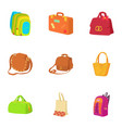 travel baggage icons set cartoon style vector image vector image