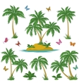 Tropical island palms and butterflies vector image vector image