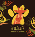 wildlife day giraffe card with african art vector image vector image