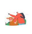 young man making selfie with cow funny male vector image
