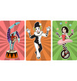 gymnast mime clown and juggler circus characters vector image